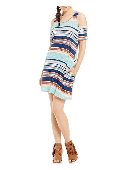 Rossmore. | Blue By Ppla Louise Horizontal-stripe Cold Shoulder Swing Dress | Lyst