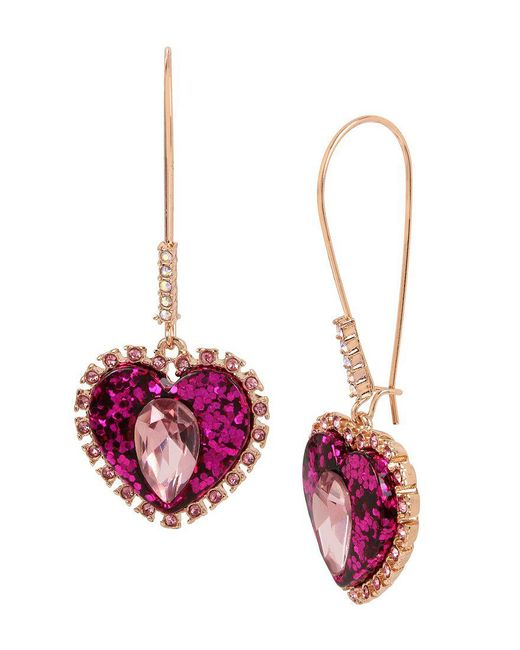 Betsey Johnson - Multicolor Pink Heart Drop Earrings - Lyst