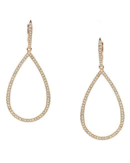 Nadri - White Pavé Gold Plated Teardrop Earrings - Lyst
