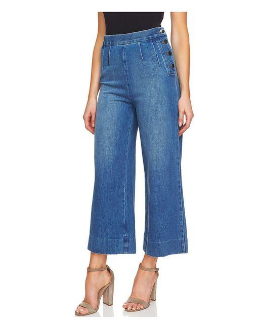 Cece - Blue Cotton Culotte Jeans - Lyst