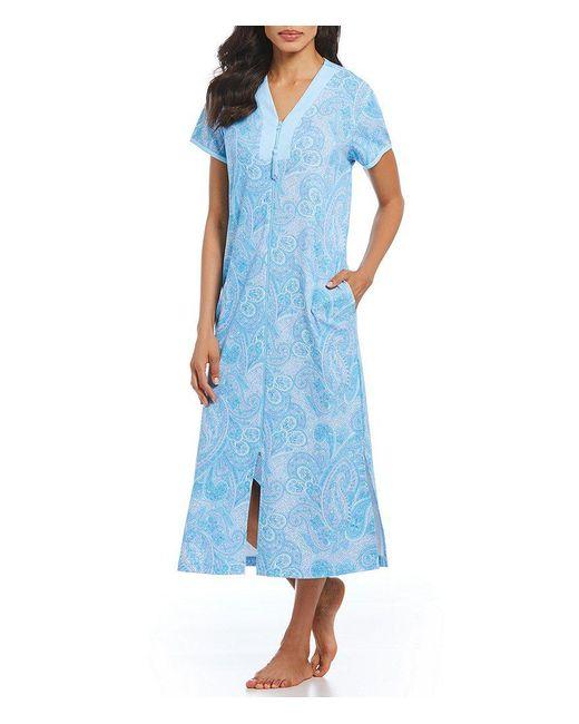 Miss Elaine - Blue Paisley-print Interlock Zip-front Long Robe - Lyst