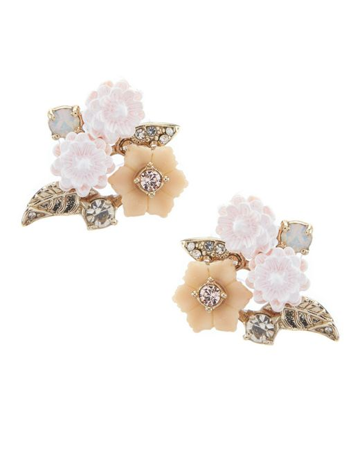 Marchesa - Metallic Floral Button Statement Earrings - Lyst