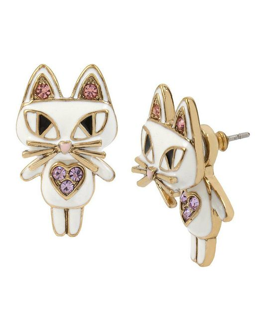 Betsey Johnson   Metallic Cat Front/back Earrings   Lyst