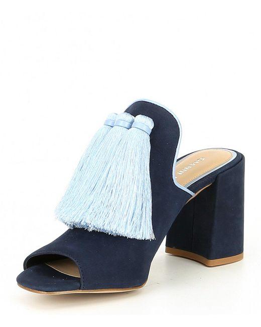 77ace704186 ... Gianni Bini - Blue Moneekas Block Heel Tassel Mules - Lyst ...