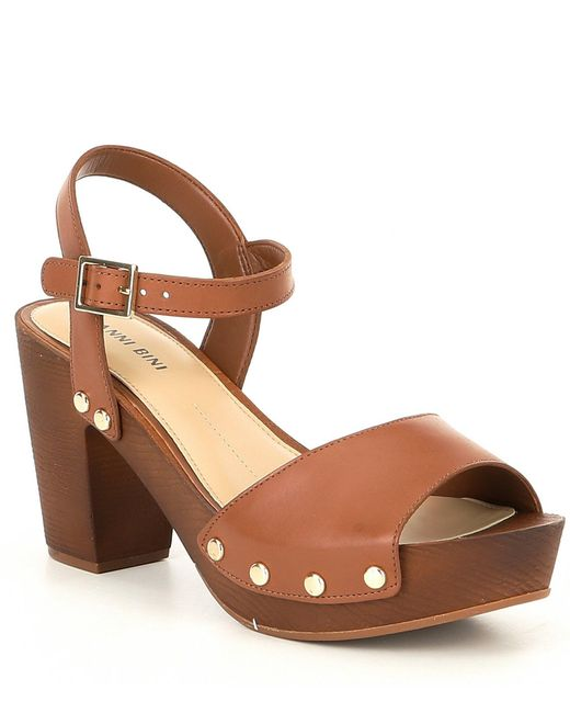 c375653f909 Gianni Bini - Brown Renella Two-strap Wood Platform Block Heel Sandals -  Lyst ...