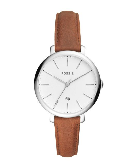 Fossil - Jacqueline Jacqueline Three-hand Date Brown Leather Watch - Lyst