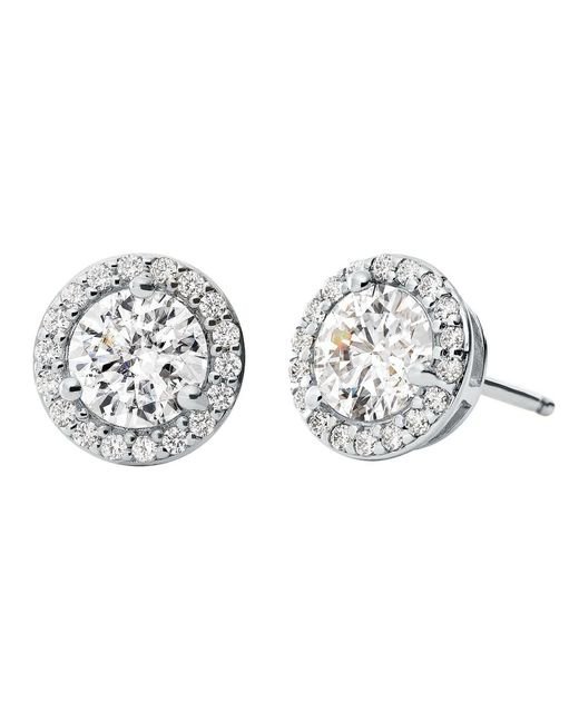 Michael Kors - Metallic Custom Kors Collection Sterling Silver Pave Halo Stud Earrings - Lyst