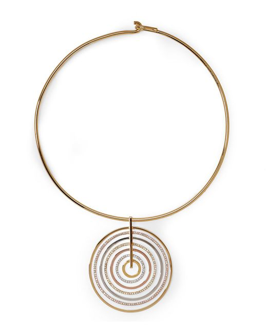 Vince Camuto - Metallic Circle Pave Statement Collar Necklace for Men - Lyst