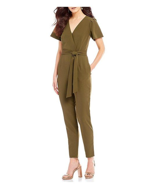 Antonio Melani - Black Easton Surplice Tie Waist Jumpsuit - Lyst