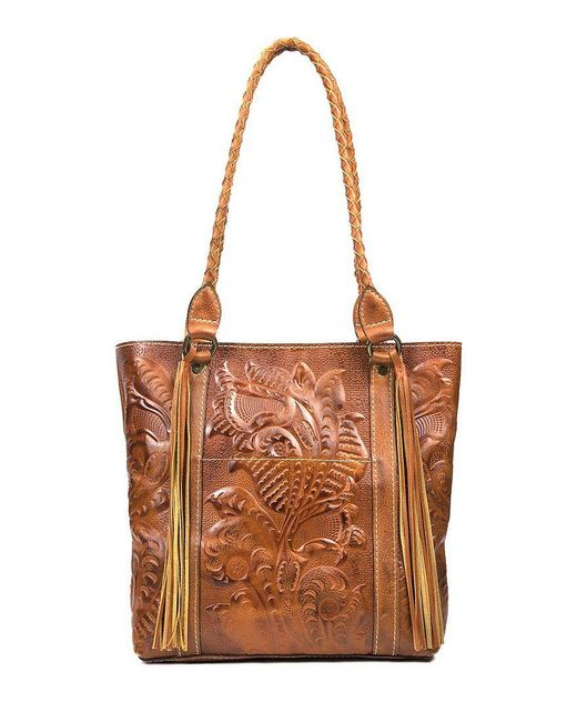 Patricia Nash - Metallic Burnished Tooled Collection Rena Tasseled Tote - Lyst