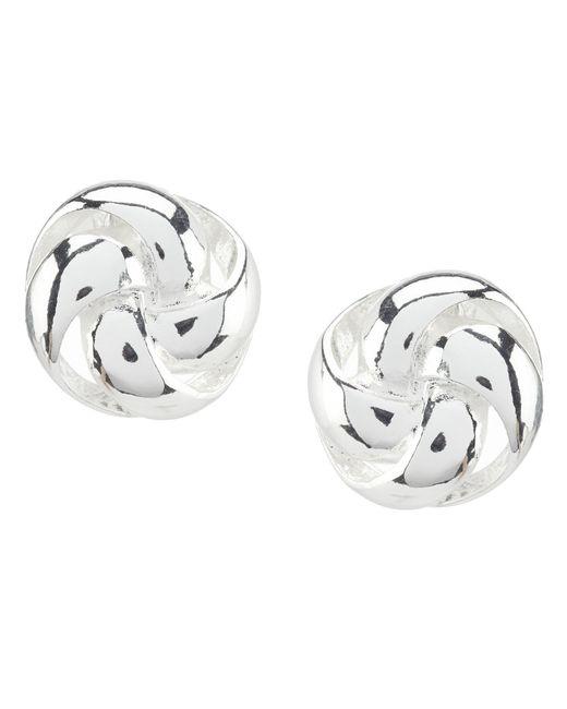 Anne Klein - Metallic Silver Knot Clip Earrings - Lyst
