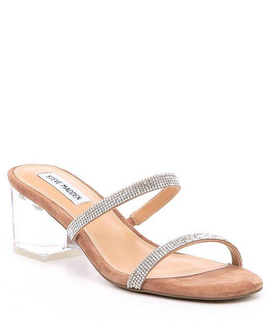 Steve Madden - Multicolor Issy-r Rhinestone Clear Block Heel Strappy  Sandals - Lyst ...