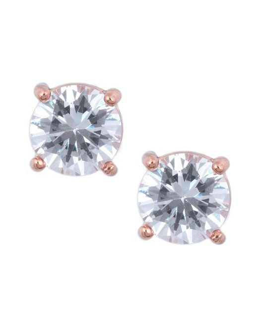 Anne Klein | Metallic Round Rose Gold Crystal Stud Earrings | Lyst