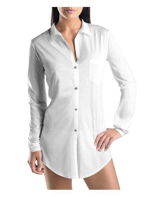 Hanro - White Cotton Deluxe Boyfriend Sleepshirt - Lyst