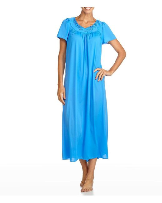 Miss Elaine - Blue Tricot Nightgown - Lyst