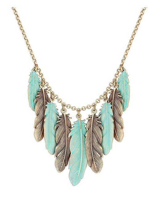 Lucky Brand | Blue Patina Feather Collar Necklace | Lyst
