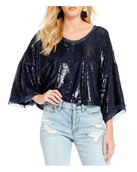 Free People | Blue Champagne Dreams Mini Sequin Bell Sleeve Blouse | Lyst