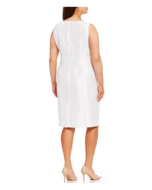 a3cd3c013c9 ... Kasper - White Plus Size Shantung Embellished Waist Sheath Dress - Lyst