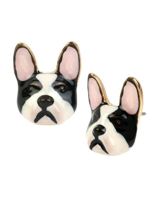 Betsey Johnson | Black Bulldog Stud Earrings | Lyst