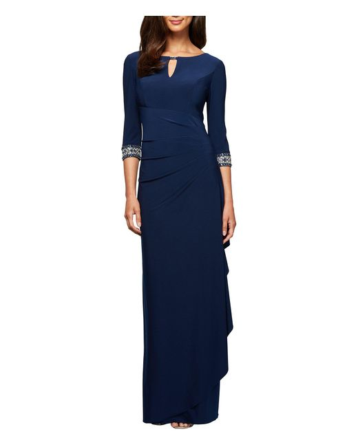 22472dea95f Alex Evenings - Blue Petite Size Side Ruched Embellished Cuff Gown - Lyst  ...