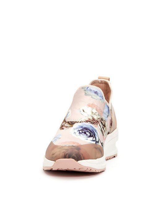 3f15885b393 Lyst - Taryn Rose Zabella Printed Satin Slip Ons in Pink - Save 30%