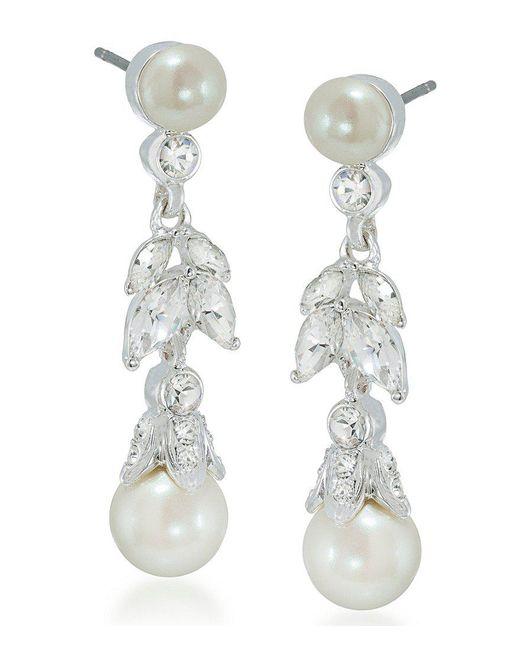Carolee | White Faux-pearl Floral Drop Earrings | Lyst