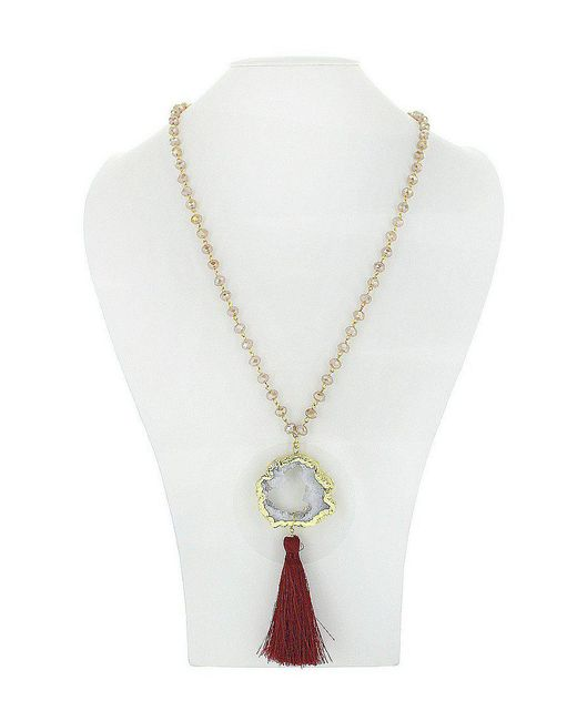Panacea | Metallic Drusy Stone Pendant Tassel Necklace | Lyst