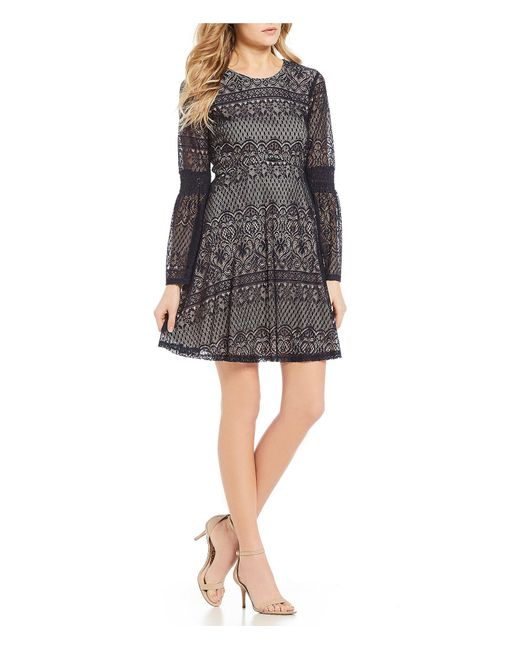 Lyst Sequin Hearts Smocked Sleeve Lace Fit And Flare