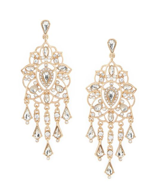 Belle By Badgley Mischka - Metallic Filigree Chandelier Earrings - Lyst