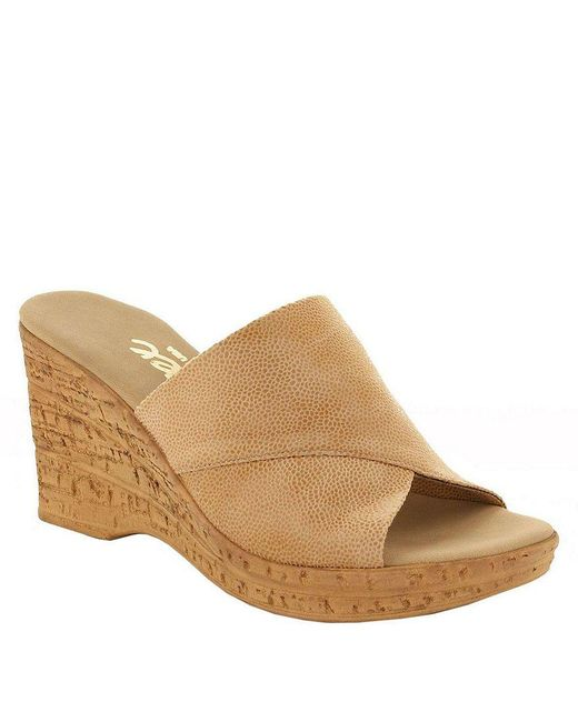 Onex - Natural Christina Leather Banded Cork Wedge Sandals - Lyst