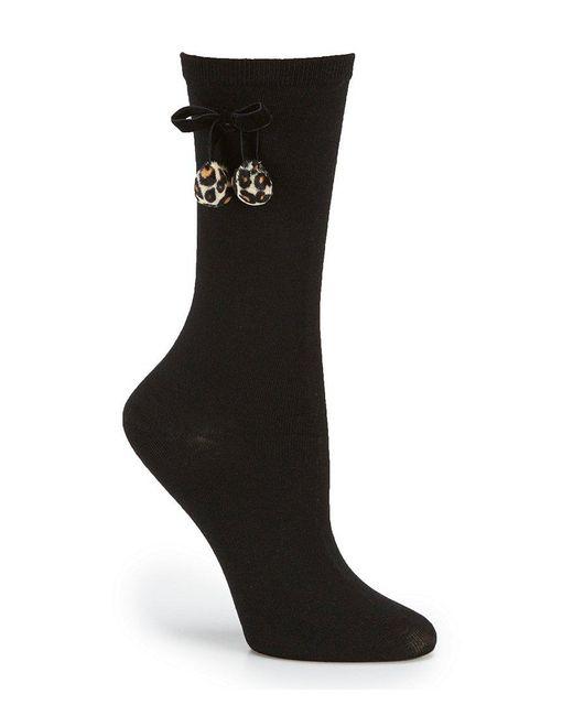 Kate Spade | Black Bow Crew Socks With Leopard-print Faux-fur Pom Poms | Lyst