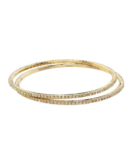 Cezanne - Metallic 2-piece Pav Rhinestone Bangle Set - Lyst