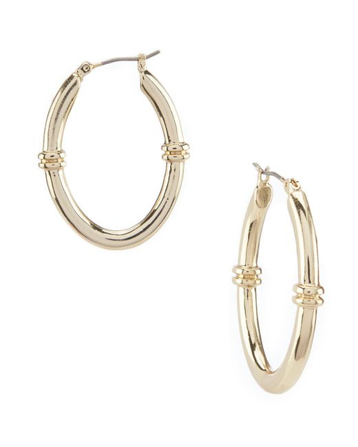 Lauren by Ralph Lauren - Metallic Rib Link Hoop Earrings - Lyst