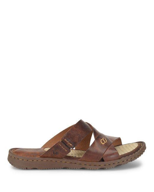 65a5b2f1235d Born - Brown Hayka Leather Slides - Lyst ...