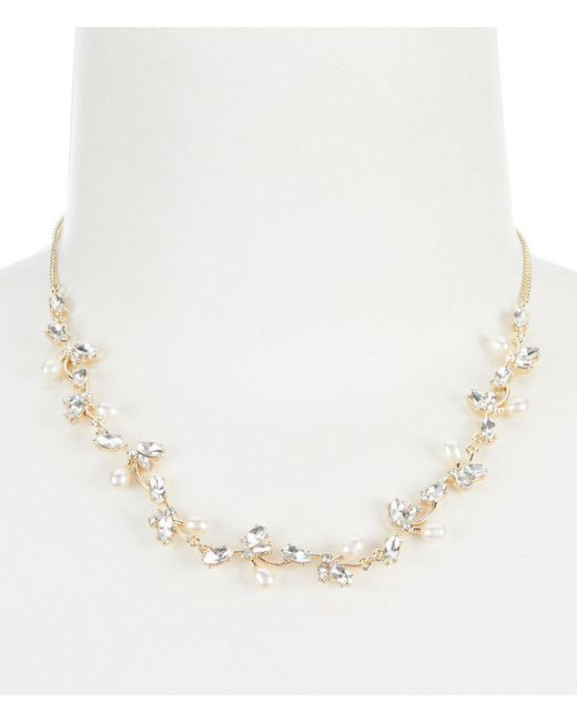 Carolee - Metallic Petals And Pearls Frontal Necklace - Lyst