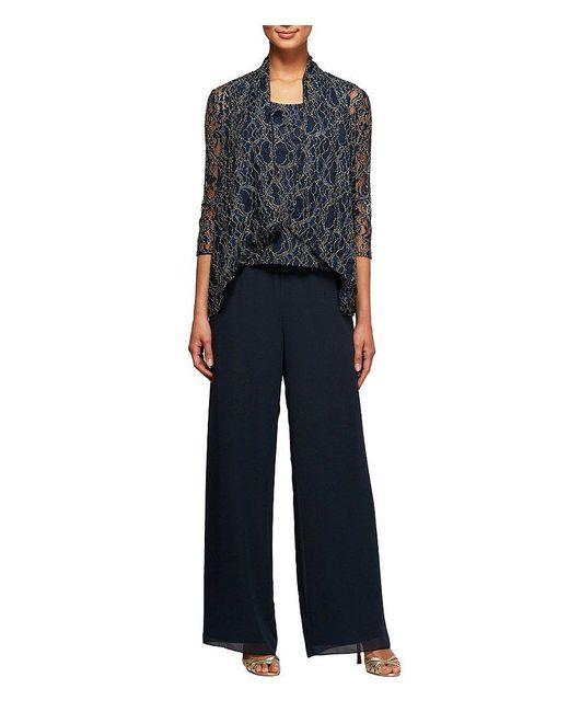 Alex Evenings | Blue Metallic Lace 3-piece Pant Set | Lyst