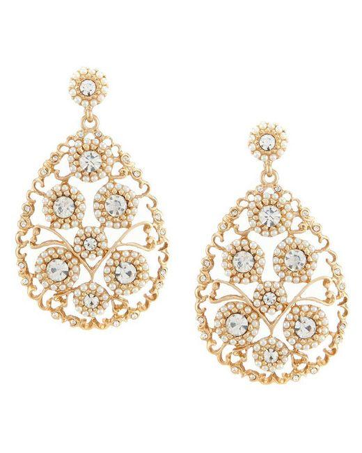 Belle By Badgley Mischka | Metallic Pavé Pearl Flower Teardrop Earrings | Lyst