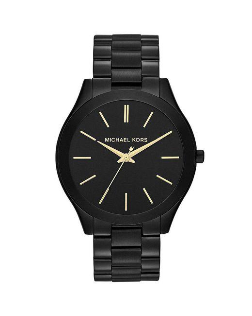 Michael Kors | Black Slim Runway Stainless Steel 3 Hand Bracelet Watch for Men | Lyst