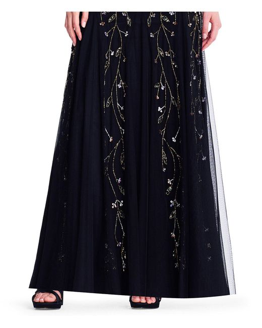Lyst Adrianna Papell V Neck Floral Beaded Godet Gown In Black