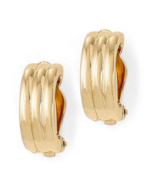 Lauren by Ralph Lauren | Metallic Gold Rib Hoop Clip-on Earrings | Lyst