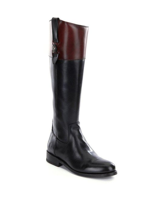 Frye | Black Jayden Button Tall Leather Full Zip Wide Calf Riding Boots | Lyst