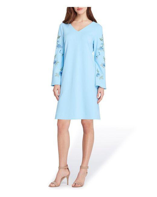 Tahari - Blue Embroidery Long Sleeves Shift Dress - Lyst