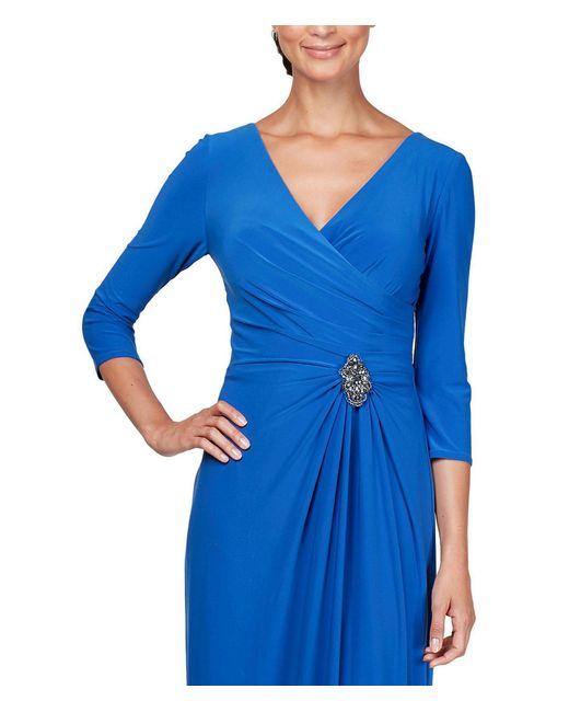 73c3794d866 ... Alex Evenings - Blue Petite Size V-neck Embellished Waist Draped Long  A-line