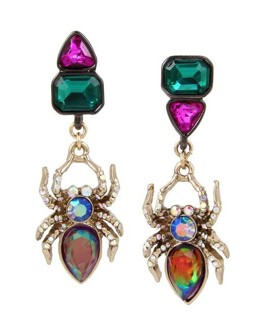 Betsey Johnson | Multicolor Spider Mismatched Drop Earrings | Lyst