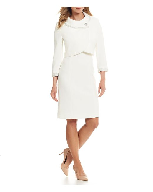 Tahari White Pearl Detail Crop Jacket Dress Suit