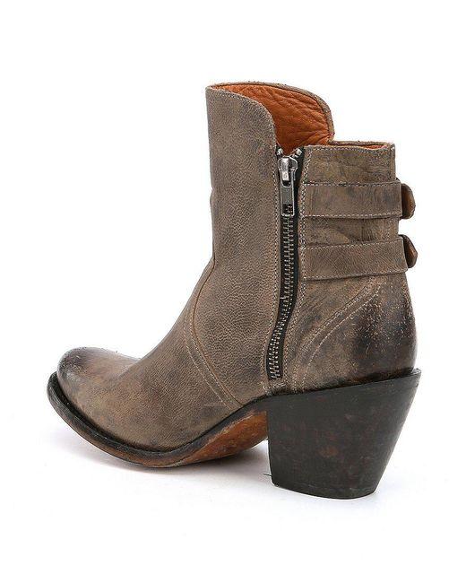 Catalina Leather Buckle Detail Block Heel Booties 6HccW