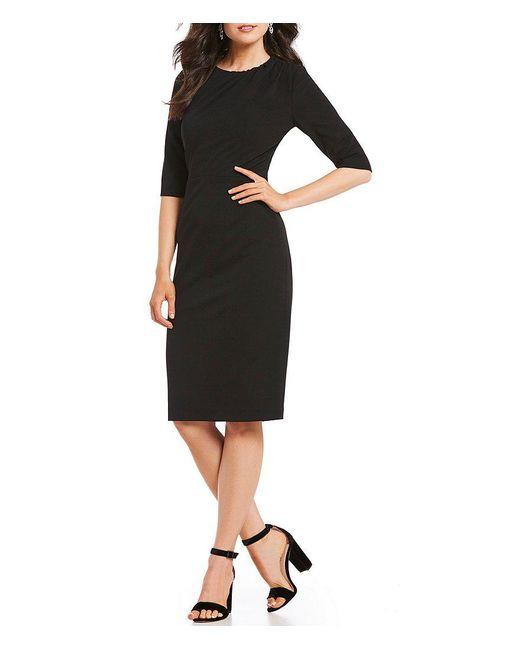 Kay Unger | Black Stretch Scuba Crepe Sheath Dress | Lyst
