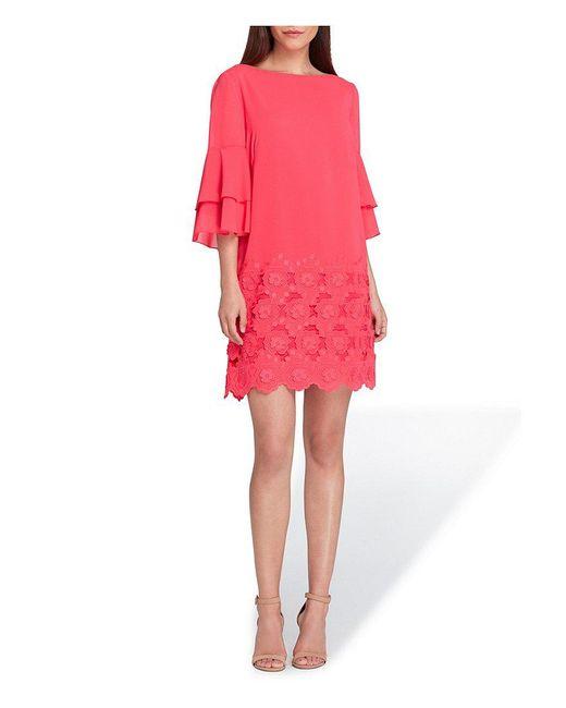 Tahari - Pink Lace Applique Bottom Dress - Lyst