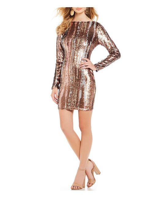 Dress the Population - Multicolor Lola Liquid Scoop Back Metallic Sequin Mini Sheath Dress - Lyst