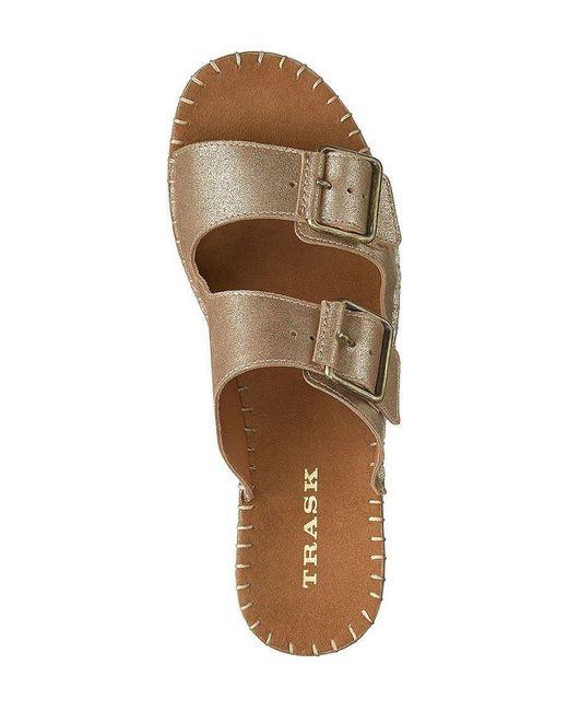 Carli Washed Metallic Suede Slide Sandals YaXj6UT